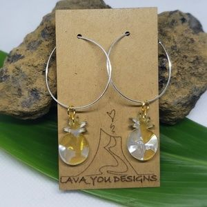 Sterling silver hoops with acrylic pineapples